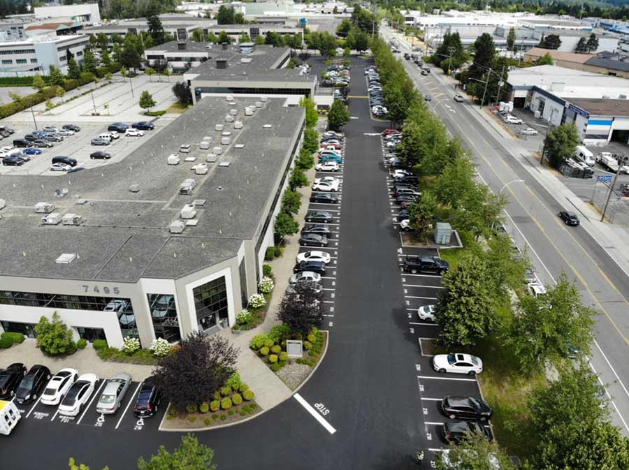 sky view of a parking lot after seal coating