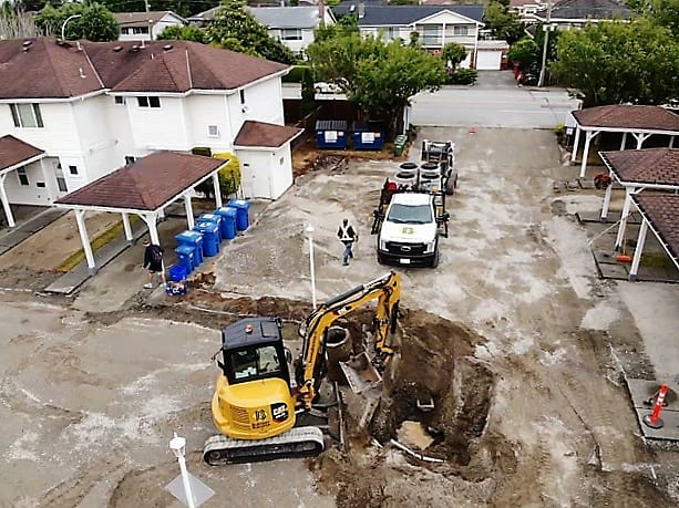 concrete excavation for a community residence
