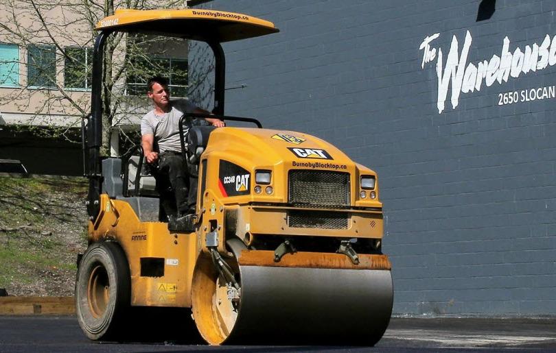 Dave, our paving expert, in asphalt roller